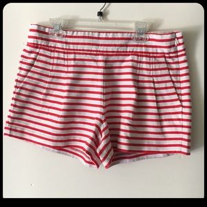 J. Crew Pleated Red Stripe Shorts